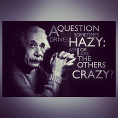 """A question that sometimes drives me hazy: Am I or are the others crazy. """