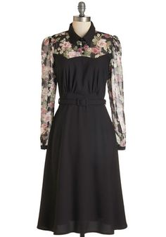 1930s Style Dresses and Clothing- Cheery Cordial Dress in Long Sleeves - Black $84.99 #1930sfashion #dresses