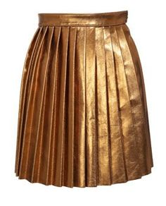 Bronze Leather Pleated Skirt