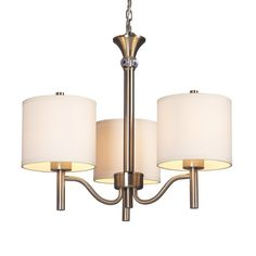Galaxy Ansley 20-in 3-Light Brushed Nickel Shaded Chandelier