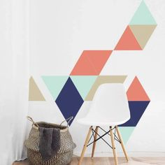Peel and Stick Triangle Wall Decor Removable Wallpaper Stickers Bedroom Wall Designs, Accent Wall Bedroom, Accent Walls, Bedroom Ideas, Bungalow Hallway Ideas, Geometric Wall Paint, Geometric Art, Tape Wall Art, Triangle Wall