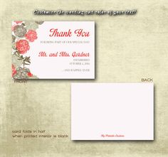 DIY Printable Wedding Thank You Card PDF - Vintage Brown Floral Design in Coral Grapefruit (Or Your Color Choice!) (5X3.5 Folded) on Etsy, $4.00