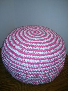 Recycle Upcycle Crochet Plastic Grocery Bag Plarn Pouf Ottoman Pink
