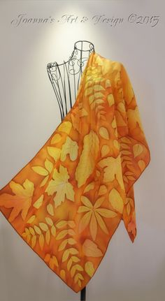Hand painted silk scarf Warm Autumn leaves by JoannaArtDesign
