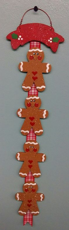 Gingerbread Family Ornament with Banner