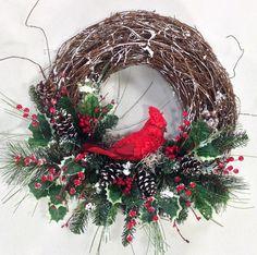 Christmas Wreath, Cardinal Wreath, Christmas Décor, Holiday Wreath, Holiday Décor, Cardinal, Winter Wreath, Rustic Wreath by CrookedTreeCreation on Etsy https://www.etsy.com/listing/206313382/christmas-wreath-cardinal-wreath