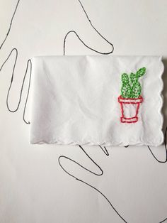Cactus Art Cactus Embroidery Succulent Scarf Friend Gift Cactus Planter Accessory