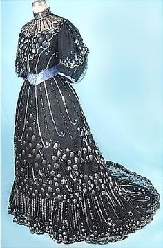 c. 1904 Highly Decorated Sensational Shiny Sequin Black Net 2-piece Trained Ballgown