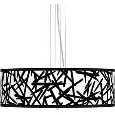 """Giclee Gallery Sketchy Giclee 24"""" Wide 4-Light Pendant Chandelier ($300) ❤ liked on Polyvore featuring home, lighting, ceiling lights, black, chandeliers, cord lights, black lights, cord lamp, black chandelier lamp and black ceiling lights"""