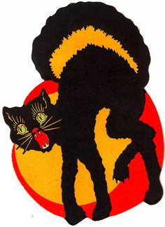 2 assorted vintage 1930s 1940s halloween black cat die cut party decorations unknown party paper all hallows eve 4 pinterest vintage halloween