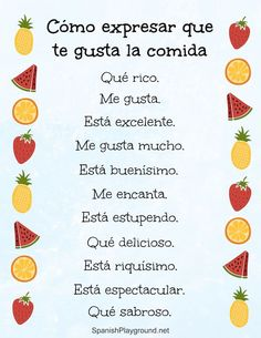 Teach young bilingual kids ways to say delicious in Spanish, so they can express personal reactions at meals. These 12 phrases to say you like a food can also be used to practice agreement. Spanish Phrases, Spanish Grammar, Spanish Vocabulary, Spanish Words, Spanish English, Spanish Language Learning, Spanish Teacher, How To Speak Spanish, Teaching Spanish