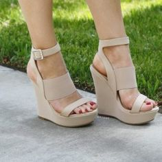 Cutest goes with matches everything everyday wear casual fashionable stylish chic trendy tall platform heels strappy 3 straps wide stripes wedged cream khaki beige tan lightest brown camel tints fawn tannish taupe neutral toned oatmeal shade tones colored shoes Pencil Me In Platform Wedges $29.90