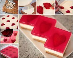 No Bake Strawberry Jelly Heart Dessert Recipe | DIY Tag