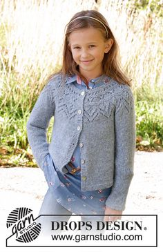 Agnes / drops children - free knitting patterns by drops design Baby Knitting Patterns, Kids Patterns, Lace Patterns, Knitting For Kids, Free Knitting, Drops Design, Knit Cardigan Pattern, Girls Sweaters, Gray
