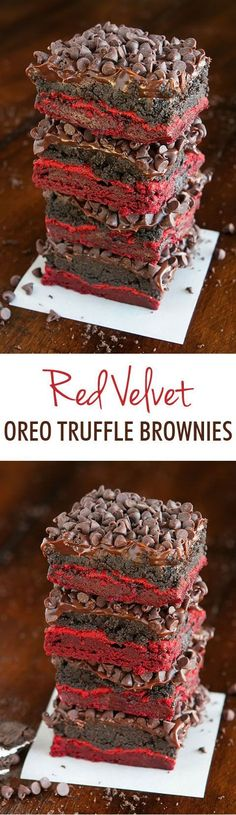 I Am So Excited To Share These Ridiculous New red velvet brownies with you today! They're super easy to make with a red velvet cake mix. To make them extra special, we added a layer of Oreo Truffle on top of these insanely delicious cake mix brownies! Dessert Oreo, Coconut Dessert, Bon Dessert, Brownie Desserts, Mini Desserts, Brownie Recipes, Dessert Bars, Just Desserts, Delicious Desserts