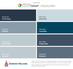 I found these colors with ColorSnap® Visualizer for iPhone by Sherwin-Williams: In the Navy (SW 9178), Daphne (SW 9151), Sleepy Blue (SW 6225), Upward (SW 6239), Moonmist (SW 9144), Loyal Blue (SW 6510), Indigo Batik (SW 7602), Distance (SW 6243).