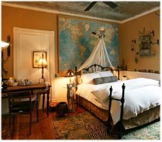 Travel bedroom - am I a nerd because I love the map behind the bed?