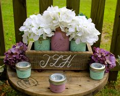 RUSTIC MONOGRAMMED CENTERPIECE, Lilac and Mint painted mason jars planter with 3 tea light small mason jars.  Perfect for rustic weddings! by TheSouthernBlend on Etsy