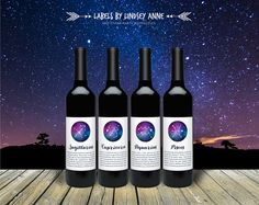 Horoscope Wine Labels Constellations Zodiac by LabelsByLindseyAnne - Labels By Lindsey Anne - LBLA