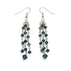 Crystal Cascade Earrings - Montana/Silver, Swarovski