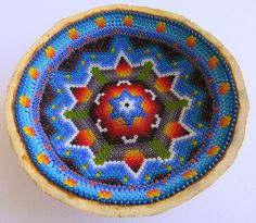 4 Mexican Huichol Beaded Sacred Gourd Bowl 019 by Aramara on Etsy