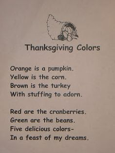 T's First Grade Class: Thanksgiving Reader's Theater.perfect poetry journal poems for November! Thanksgiving Poems, Thanksgiving Preschool, Fall Preschool, Thanksgiving Songs For Preschoolers, Thanksgiving Placemats, Songs For Toddlers, Kids Songs, Preschool Poems, Kindergarten Poems