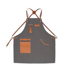 Barista Apron Koala Gray Canvas with Honey Brown Leather