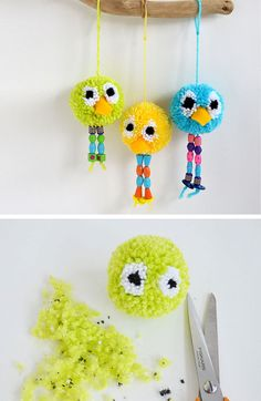 Pom Pom Bird Craft | Click Pic for 20 DIY Decorating Ideas for Girls Room | DIY Bedroom Decorating Ideas for Girls