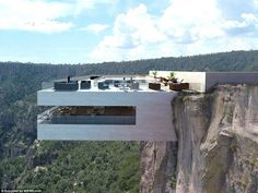 This place will definitely put your fear of heights to the test.  The cocktail bar/eatery juts out from the hillside of Mexico's Copper Canyon, high above the trees, with the overhang so dramatic it's bound to make even those who aren't normally afraid of heights at least a little bit squeamish - a ...