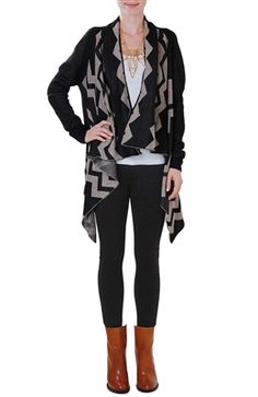 Zig Zag Cardigan Shawl Sweater Chevron Knit Cardi - Black, Tan