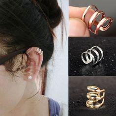 Punk Rock Ear Clip Cuff Wrap No Piercing-Clip On Earrings Costume Jewellery #ebay #Fashion