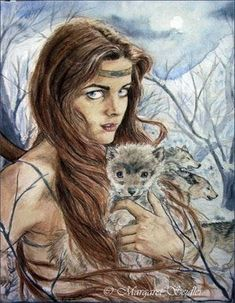 Skadi and the wolves - norse-mythology