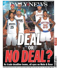"""Back Page Guy NYDN on Twitter 20170222: """"Here's our @nydnsports backpage"""" @nyknicks @laclippers @cavs @timberwolves @celtics @apse_sportmedia #carmeloanthony"""