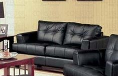 Samuel Black Loveseat by Coaster Furniture by Coaster Home Furnishings. $470.38. Black Leather Sofa; Contemporary Loveseat; Black Leather Loveseat; Samuel Collection; Black Leather Love seat. This contemporary bonded leather love seat will give your living room a fresh style. The simple piece has high plush tufted back cushions and deep t-cushions on the seat, making this a comfortable place to rest. Sleek track arms and square tapered wood feet complete the look...