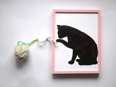 Black Cat Silhouette From Red Rose Petals in Pink by PlaceInHeart, $15.00