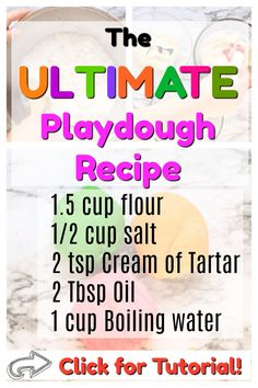 This is the best playdough recipe around. No cooking at all, silky soft, and only takes 3 minutes to make. This playdough lasts for 6 months in an air tight container! Playdough Activities, Kids Learning Activities, Toddler Activities, Creative Activities, Playdough Diy, Nanny Activities, Motor Activities, Projects For Kids, Diy For Kids