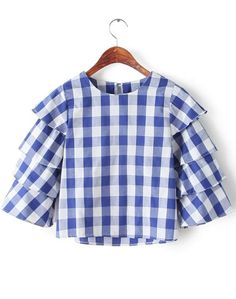 Shop Blue Round Neck Cake Sleeve Plaid Blouse online. Sheinside offers Blue Round Neck Cake Sleeve Plaid Blouse & more to fit your fashionable needs. Free Shipping Worldwide!