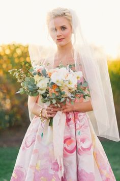 Image by Kat Harris - Design by True Event - Styling by Beth Chapman, The White Dress by the Shore - Flowers by Hana Floral Design - Dress by Kate McDonald - Earrings by Haute Bride - Bracelet by Aquinnah - Veil by Lacey Eden Preppy Wedding Inspiration, Floral Dress Design, Offbeat Bride, Watercolor Wedding, Event Styling, Floral Wedding, Wedding Gowns, Flower Girl Dresses, Pretty