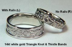 Celtic Thistle Knot Wedding Rings by deSignet - This is my wedding band.  We had a Celtic wedding April 16, 2005--before I discovered Diana Gabaldon's Outlander series.  Imagine my surprise when I saw the resemblance between my ring and Claire's!  I have Irish blood with some Scots and my husband has Scots Blood with a some Irish.