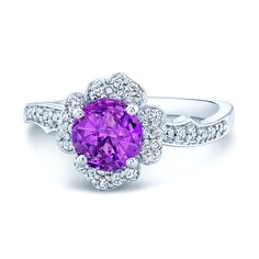 Jaw Dropping #PinkSapphire & #Diamond Floral Halo Ring In 14k #WhiteGold
