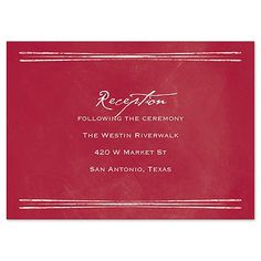Saturated with apple red color, this lightly distressed, artistic reception card sets the tone for your nuptials. Wording prints your choice of lettering styles.Product Details: Reception Card S Wedding Reception Cards, Wedding Invitations, Red Apple, Chalkboard, Lettering, Prints, Color, Style, Swag
