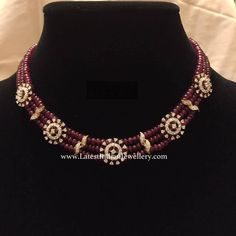 Simple 3 line ruby beaded strings with diamond clasps look beautiful and elegant. This diamond ruby party wear necklace is an exclusive piece Gold Jewellery Design, Bead Jewellery, Beaded Jewelry, Jewlery, Jewelry Necklaces, Pretty Necklaces, Latest Jewellery, Beautiful Necklaces, Bracelets