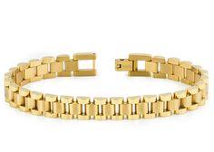 High Polished & Brushed Yellow Gold Plated Titanium Designer Link Bracelet