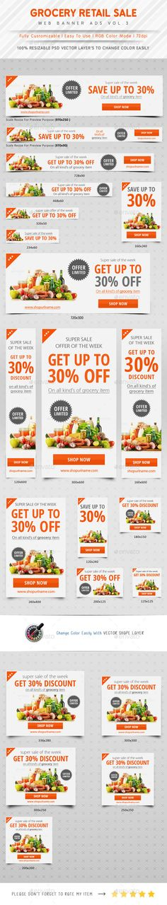 Grocery Retail Sale Web Banner Ads Template PSD | #salebanner #retailbanners #webbanners | Download: http://graphicriver.net/item/grocery-retail-sale-web-banner-ads/10412398?ref=ksioks