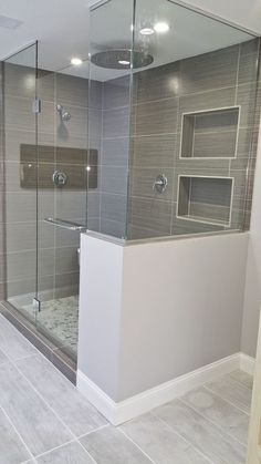 Matching tile floor and shower add a strip of color #bathroomideas
