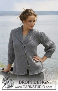 """Free pattern! 108-2 DROPS jacket in stockinette st with sleeves in wavy pattern in """"Alpaca"""" and """"Kid Silk"""".  (Change language on pattern by clicking on the link and selecting your language in the drop-down menu below the picture.)"""