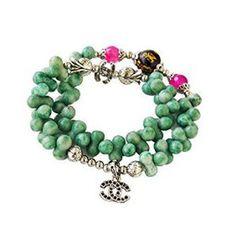 "Green Stones Stretch Bracelet 15"""