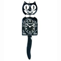 Classic Black Kit Cat Wall Clock - x in. - A true American classic. You may remember watching the eyes and tail move back and forth when this clock hung in a kitchen from your childhood. The Cl. Kit Kat Clock, Cat Clock, Black Clocks, Cat Wall, Style Retro, Retro Home Decor, Black Walls, Art Deco Design, Cat Design