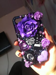 violet flower cover cell phone case for iphone 4 or iphone 4s