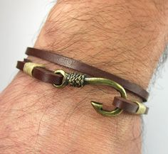 Express Shipping Fish Hook Bracelet In Brown Leather Beige Rope Uni Bronze Anchor Valentine S Gift